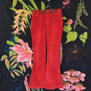 VINTAGE Corduroy Flared Pants With Slits Size 3/4